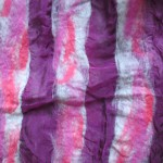 Scarf #7 - plum silk w/ silver, purple, magenta wool stripes