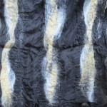 Scarf #16 - black silk w/ black, tan, white wool stripes