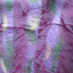 Scarf #18 - rose silk w/ lilac, green, yellow wool stripes
