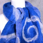 Blue and Silver Nuno Felted Scarf