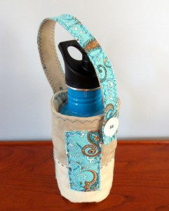 Blue accented holder with short strap